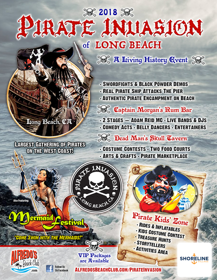 Pirate Invasion of Long Beach Also Featuring Mermaid Festival July1-2, 2017 Shoreline Aquatic Park